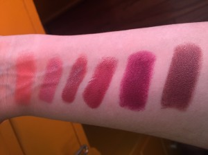 Left to Right: Juicy Papaya, Naked, N9, Berry Exciting, Blissful Berry, Untainted Spice